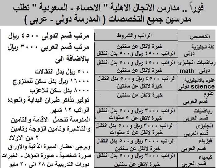 وظائف معلمين بالمملكة العربية السعودية